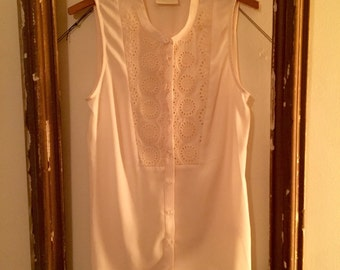 Cream Bib-Front Tank Blouse