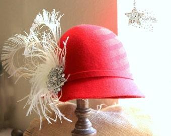 red felt hat - Red Cloche hat - felt cloche hat - vintage hat - bucket hat - felt hat - hat - cloche hat - wedding hat