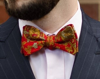 All cotton red paisley self tie bow tie