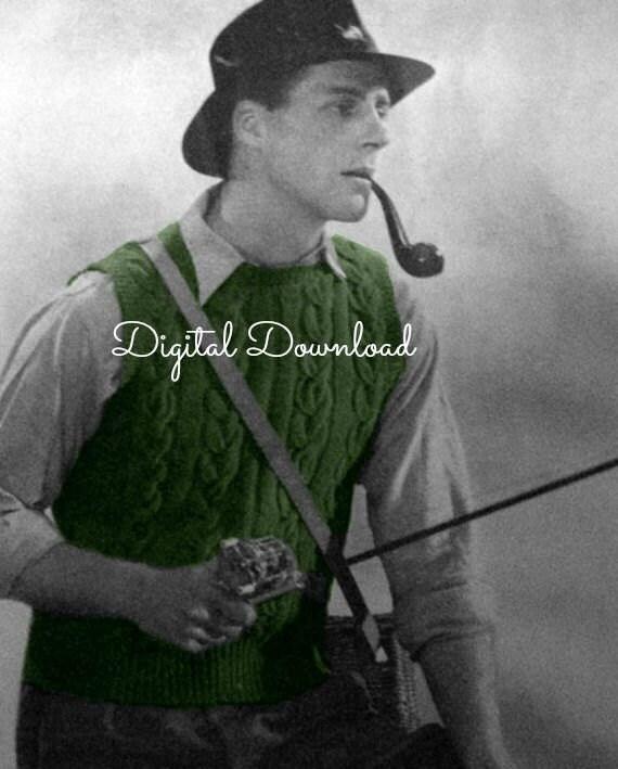 Vintage 1940s Mens Vest Pullover Slip on Sweater Woolie Knitting Pattern Digital Download