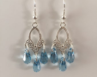 Aquamarine Drops on Sterling Silver Earring