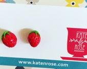 Strawberry studs - miniature strawberry polymer clay earrings : Fruit Salad -  stud earrings - kawaii - rockabilly - strawberry studs