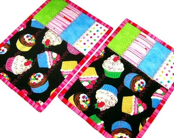 Cupcake Mug Rugs: pink and black snack mats, quilted candle mats, modern patchwork mini placemats, large cupcake coasters, set of 2