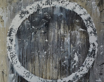 Large Abstract Circle Wall Art - Black and White Painting on Canvas with Free Shipping