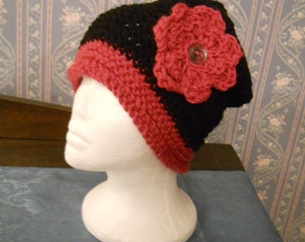 Pretty Cranberry/Black Handmade Knitted/Crochet Ladies Hat w/Flower