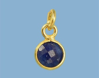 1 ea. Tiny 6mm Sapphire and Vermeil Bezel Pendant. 24k Gold Over Sterling Silver with 5mm Jump Ring Birthstone