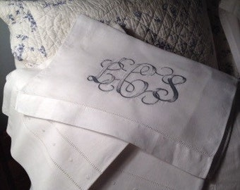 Hemstitched linen pillowcases