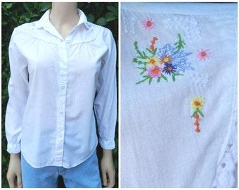 Vintage 1970's embroidered prairie hippie white cotton blouse SM