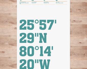 Miami Dolphins, Stadium Coordinates, Football Posters
