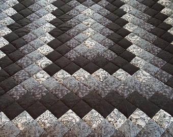 Queen Size Black and Gray Hand Quilted Trip Around the World Quilt