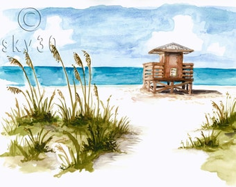 "Watercolor Print: ""Lido Lifeguard Station"""