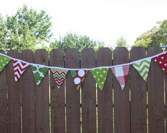 Double Sided Christmas Fabric Bunting Banner