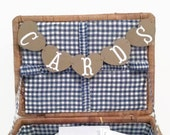 Small Wedding Cards Banner, Heart Mini Cards Banner, Rustic Cards Banner, Kraft Rustic Wedding Mini Banner