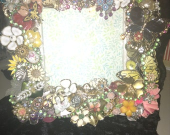 One-of-Kind Bejeweled Picture Frame / Flowers & Butterflies