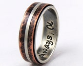 Silver copper wedding band ring - 7mm wide,handmade wedding ring,engagement band ring,mens ring,