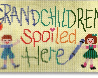 Needlepoint Handpainted Canvas KOOLER Designs Grandchildren Spoiled Here -Free US Shipping!!!