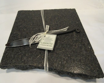 Granite Cheese Board, Black matte finish, Large size, with Large Wrought iron style cheese knife