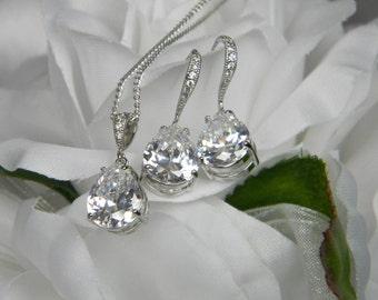 Wedding Jewelry Teardrop Cubic Zirconia Bridal Set Wedding Bridal Earrings short Earring Silver Wedding Earrings, CZ460s