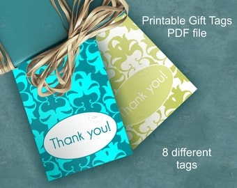 thank you damask gift tags - printable craft tags - DIY thank you notes - word template, PDF, PNG - green, blue, pink