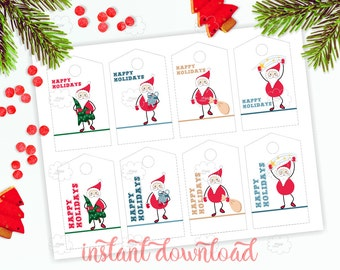 Santa Claus printable hang tags, Happy Holidays gift tags, Christmas tag, New Year tag, festive tag, instant download, printable gift tags