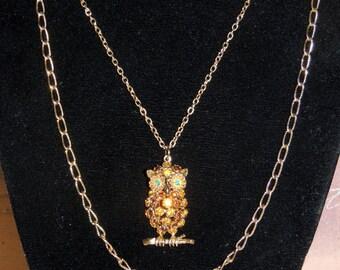 1970s Rhinestone Owl Pendant double chain necklace