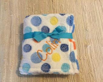 Personalized Polka Dot Fuzzy Baby Blanket