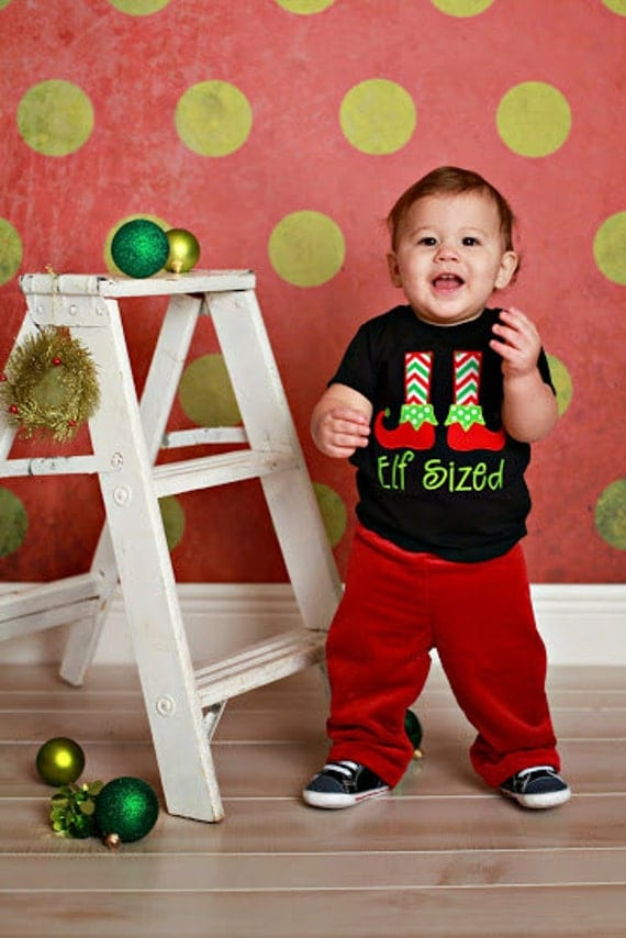 Boys Christmas Elf Embroidered Shirt - Christmas Shirt -1st Christmas Shirt-Elf Sized-Santas Little Elf-Boys Shirt