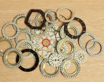 watch supplies ...  set of 35  vintage watch date and day dials ...  watch dial, circle ... old vintage watch parts ... steampunk supplies