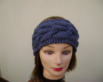 Blue Headband/Earwarmer Handknit with Cable. Ready to Ship