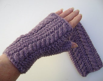 Violet/ Mauve Fingerless Gloves with Cables.Hand Warmers.Fingerless Mittens. Hand Knit.