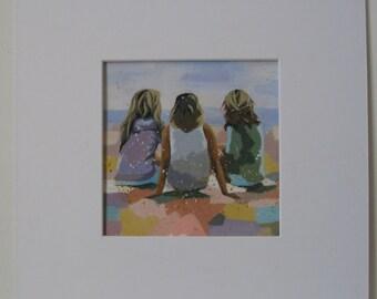 "Original acrylic painting, ocean, landscape, ""confidences"""