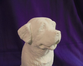Ceramic unpainted, Saint Bernard dog, 20x13x16 cm
