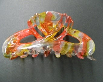 Vintage red yellow clear hair claw jaw clip comb made in France