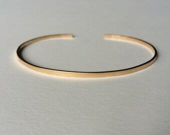 14k Gold Cuff Bracelet- Recycled Gold Cuff Bracelet- Thin Gold Bracelet- Eco Friendly Gold Cuff