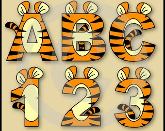 Tigger Alphabet Letters & Numbers Clip Art Graphics