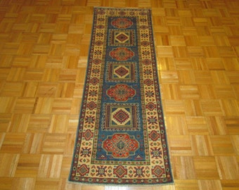 "2'2"" x 6'2""   New Hand Knotted Kazak Runner Rug #593"