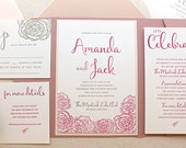 The Montauk Suite - Modern Letterpress Wedding Invitation Suite, Rose, Blush, Pink, Liner, Calligraphy, Script, Simple, Pocket, Flowers