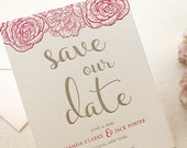 The Montauk Suite - Letterpress Save the Date, Wedding Announcement, Taupe with Pink, Modern, Flowers, Floral, Calligraphy, Rose, Classic