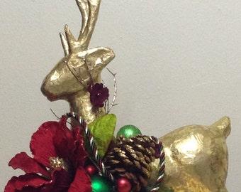 Gold Christmas Reindeer-  Holiday Reindeer- Christmas Centerpiece- Christmas Reindeer Decoration- Holiday Decoration -Table Decoration