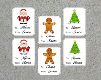 Personalized From Santa Gift Labels Christmas Labels Kids Christmas Gift Stickers - Santa, Gingerbread Man, Christmas Tree Set of 18