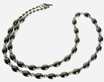 Hematite Barrel Necklace