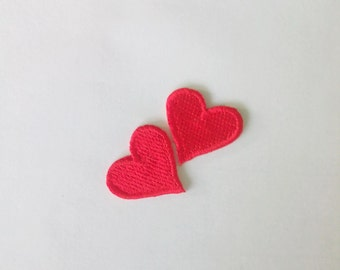Lot of 2 pieces Embroidered Tiny Red Heart Iron on Patch