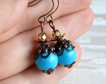 Bridesmaid gift Vintage blue earrings Bridesmaid jewlery Turquoise bridesmaid earrings beaded jewelry Blue bridesmaid Bridal party Rustic