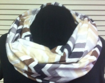 Brown Gray and White Shades Chevron Cotton Flannel Infinity Scarf