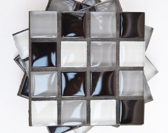 Black White and Grey checkerboard mosaic glass tile coasters