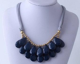 Anthropologie Navy Necklace, Bib Necklace, Navy Statement Necklace, Teardrop Necklace, Statement Necklace