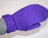 Purple Mittens, Knit Mittens for Small Adults, Iris Mittens for Teens, Purple Mittens for Big Kids Age 9-10, Ladies Size Small Mittens