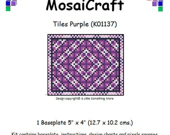 MosaiCraft Pixel Craft Mosaic Art Kit 'Tiles Purple' (Like Mini Mosaic and Paint by Numbers)