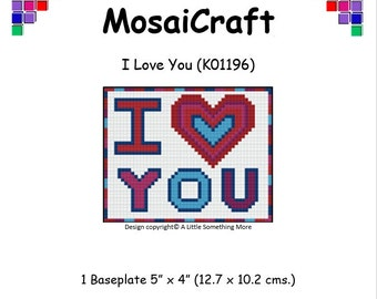 MosaiCraft Pixel Craft Mosaic Art Kit 'I Love You' (Like Mini Mosaic and Paint by Numbers)