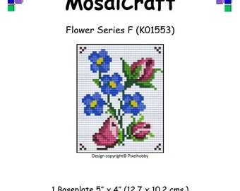 MosaiCraft Pixel Craft Mosaic Art Kit 'Flower Series F' (Like Mini Mosaic and Paint by Numbers)